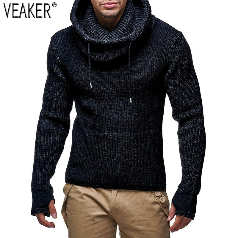 2019 Autumn Winter New Men's Turtleneck Sweaters Male High Street Solid Color Sweaters Slim Fit Knitted Pullover Sweater M-2XL