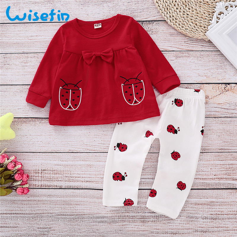 Wisefin Newborn Girl Clothing Set Long Sleeve Ladybug Baby Outfits For Girl Winter Autumn Red Cute Bow Infant Girl Clothes Set wisefin baby christmas outfits long sleeve baby girl clothes set my first christmas girl cotton newborn bodysuit overalls skirts