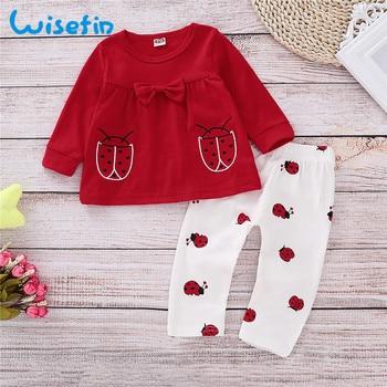 4d070b530 Wisefin recién nacido conjunto de ropa de niña de manga larga mariquita  trajes de bebé para niña invierno otoño rojo arco lindo bebé niña ropa  conjunto