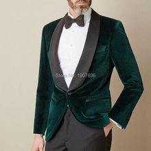 Two Piece Velvet Men Suits for Prom Party Black Shawl Lapel Sim Fit Smart Casual Wedding Groom Tuxedos