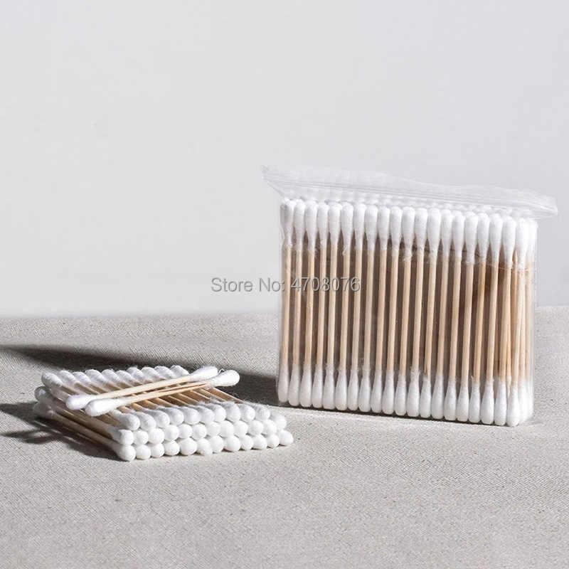 500 cái/gói tăm Bông đầu dùng một lần đôi đầu Bông dính Bằng Gỗ applicators cho trang điểm Bông vệ sinh tai Q-Đầu
