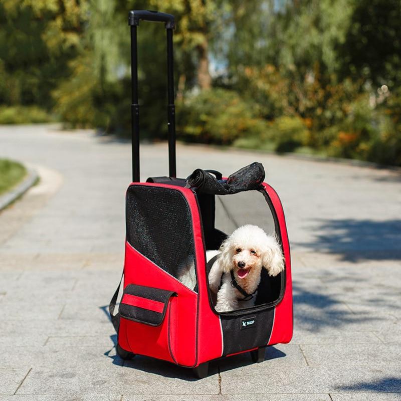 12.5kg Pet Strollers Dog Cat Portable Wheel Carrier Backpack Puppy Roller Luggage Suitcase Trailer Car Travel Transport Bag Cart