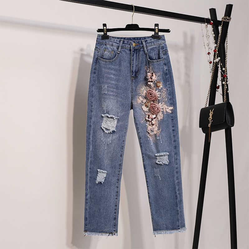 Frauen Stickerei 3D Blumen T Shirts + Jeans Anzug 2019 Sommer Casual Kurzarm T Hemd Denim Hose 2 PCS anzüge Für Weibliche