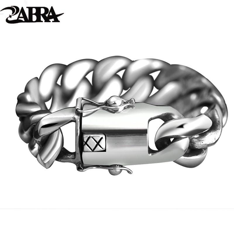 ZABRA 205 Gram Wide Luxury Solid 925 Silver Big Heavy Bracelet Men Link Chain Punk Domineering