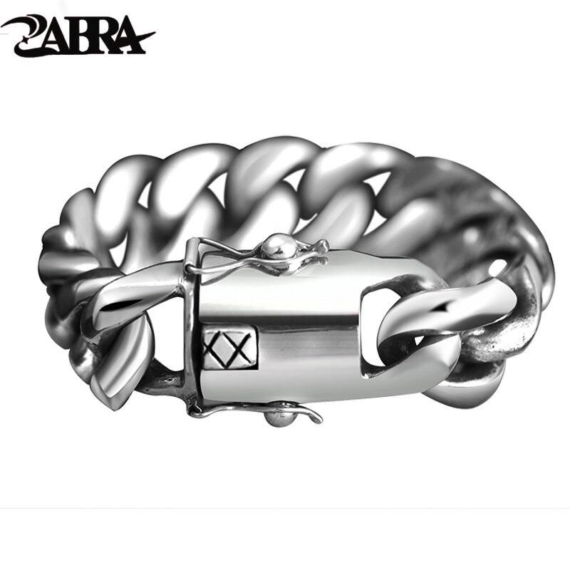 ZABRA 205 Gramme Large De Luxe Solide 925 Argent Big Lourd Bracelet Hommes Lien Chaîne Punk Dominateur Cycliste Bracelets Homme Bijoux