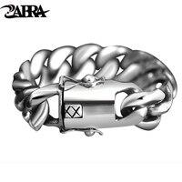 Zabra 205 г широкий Роскошные Твердого 925 silver большой тяжелый браслет Для мужчин звено цепи панк властная Байкер Браслеты человек ювелирные изд