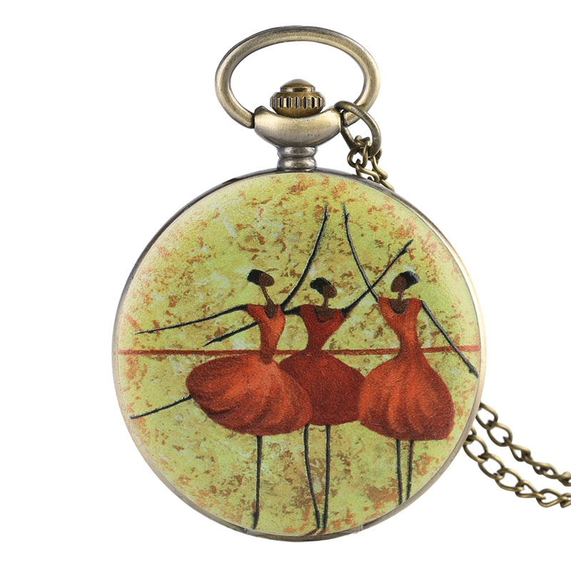 Three Ballet Dancers Necklace Retro Quartz Pocket Watch Jewelry Pendant Chain Best Gifts For Girls Ballet Dancer Collectibles