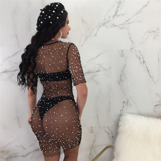 Lace Women Summer Crochet Bikini Cover Up Tops Swimwear Beach Dress Mesh bodycon Sexy See Through dress Girl party mini dresses