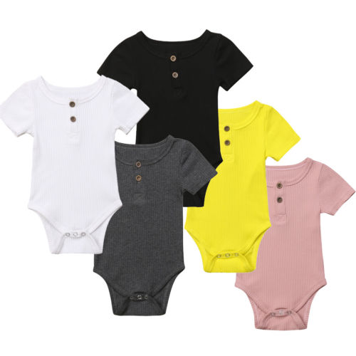 5Color ! Toddler Baby Girls Clothes Basic Pure Color Outfit Short Sleeve Sleeve Cotton Romper Baby Clothing 0-24 M