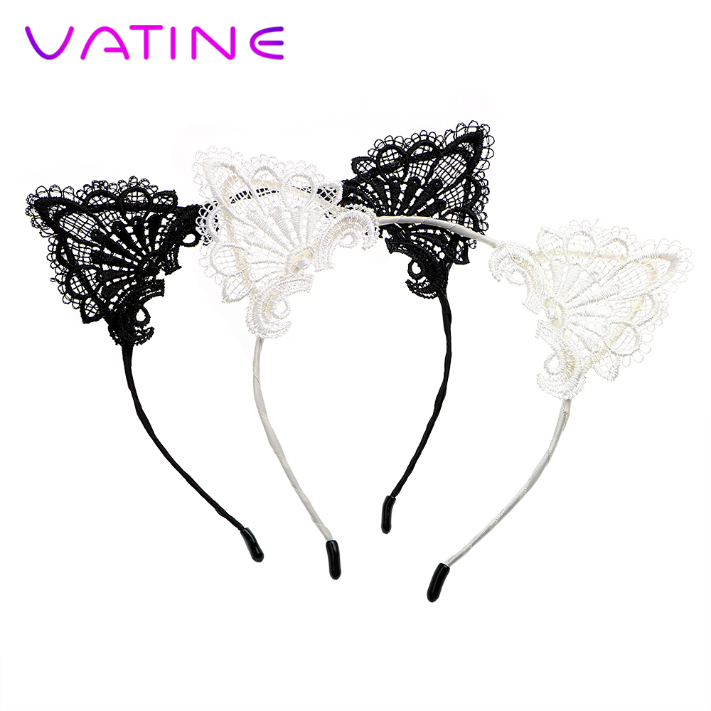 VATINE Lace Headband Sexy Cat Ears Roleplay For Women Lesbian SM Bondage Sex Toys For Couples