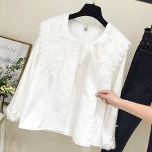 Корейские женские повседневные кружевные тонкие топы и блузки женские однобортные рубашки с воротником Питер Пэн с длинным рукавом Blusas Mujer