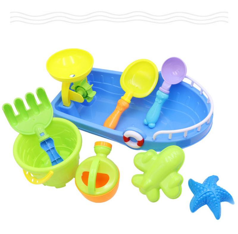Toddlers Beach Toys 9 Pieces Set Innovative Beach Boat Bucket Play Water Toy Beach Boat Beach Bucket Children's Play Toys