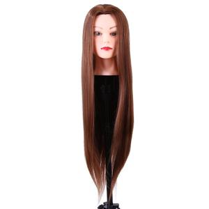 Image 2 - 24Inch Synthetic Training Mannequin Head Hairdressing Dolls Head Cosmetology Braiding Dummy Mannequin Heads Table Clamp Stand