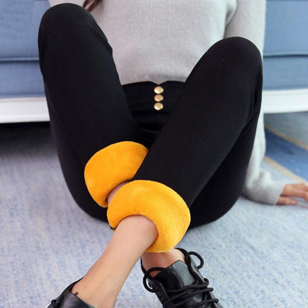 Women Thick Fleece Warm Pants Winter Fitness   Leggings   Elastic High Waist Button Skinny Leggins Female Velvet   Legging   Trousers