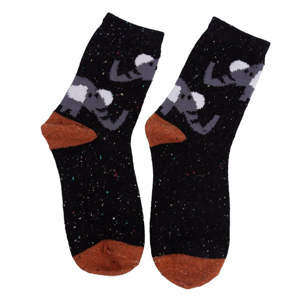 Cartoon Animal pattern Atumn Winter Thick Wool Cotton Socks cute Fox Elephant Wolf Snow-fox Deer Cat Owl print Christmas Sock