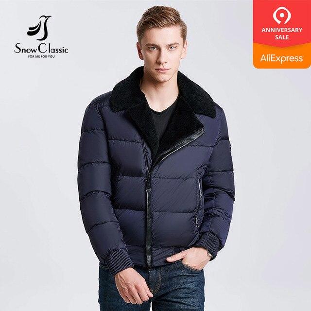 Snowclass2018 зима модели мужчин моды лацкане теплый бизнес случайные волосы воротник куртка хлопок прилив Европейский тренд кожи украшения
