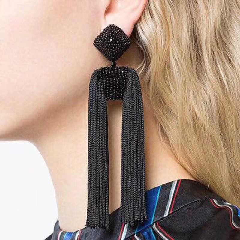 Bohemian Quaste Ohrringe für Frauen Perlen Lange Erklärung Ohrringe 2019 Big Baumeln Ohrringe Modeschmuck Boho Sommer Ohrringe