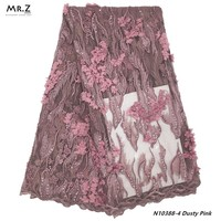 Mr.Z 2019 Latest French Tulle Lace Fabric With Beads Applique Guangzhou French Net Lace Sequins Nigeria Lace Material For Bridal