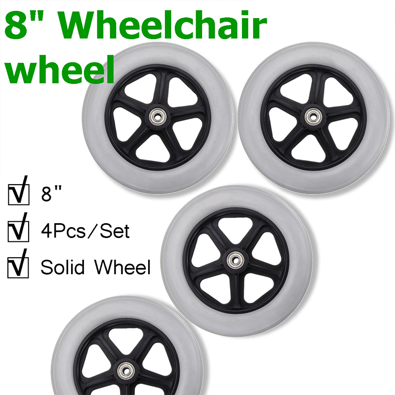 4 Pcs 8 Inch Solid Wheelchair Wheel Elder Walker Rollator Front Rear Caster Wheel Replacement Parts Safety Rollers Casters Kit