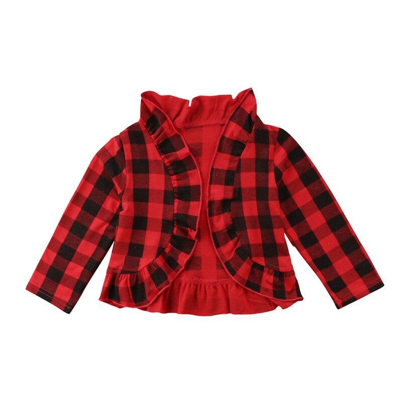 1-5 T Kleinkind Kind Baby Mädchen Mantel Jacke Überprüft Plaid Rüschen Oberbekleidung Strickjacken Baumwolle Kleidung Reinweiß Und LichtdurchläSsig