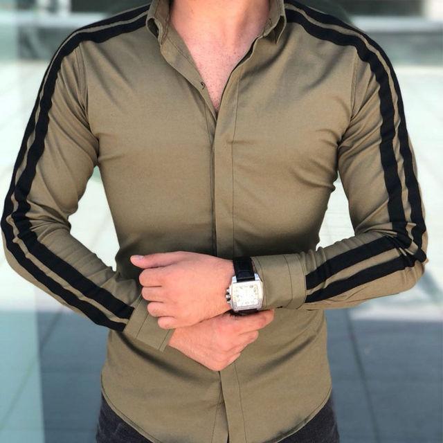 Men Fashion Luxury Shirts Long Sleeve Striped