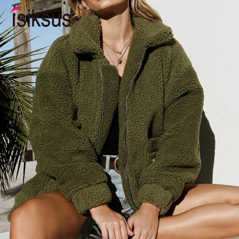 Isiksus Warm Fall Fleece   Jackets   Women Long Sleeve Autumn Winter Fur Coats Female Casual Oversized   Basic     Jackets   for Women WJ007