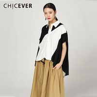 CHICEVER Summer Casual Patchwork Hit Color Women T shirt Lapel Short Sleeve Loose Slim Female Top Clothing 2019 Fashion Tide