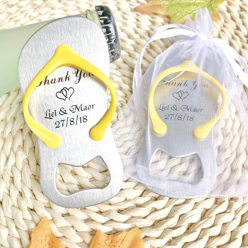 80pcs Personalized Wedding Favors Flip Flop Bottle Openers Party Decoration Metal Beer Opener Print Names White