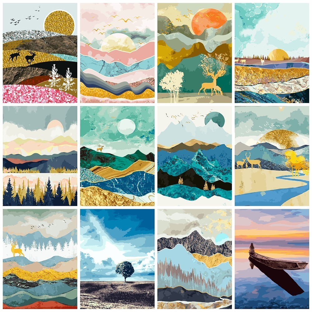 AZQSD DIY Ölgemälde Durch Zahlen Berg Färbung Durch Zahlen Sonnenaufgang Landschaft Farbe Leinwand Bild Hand Gemalt SZYH-A201
