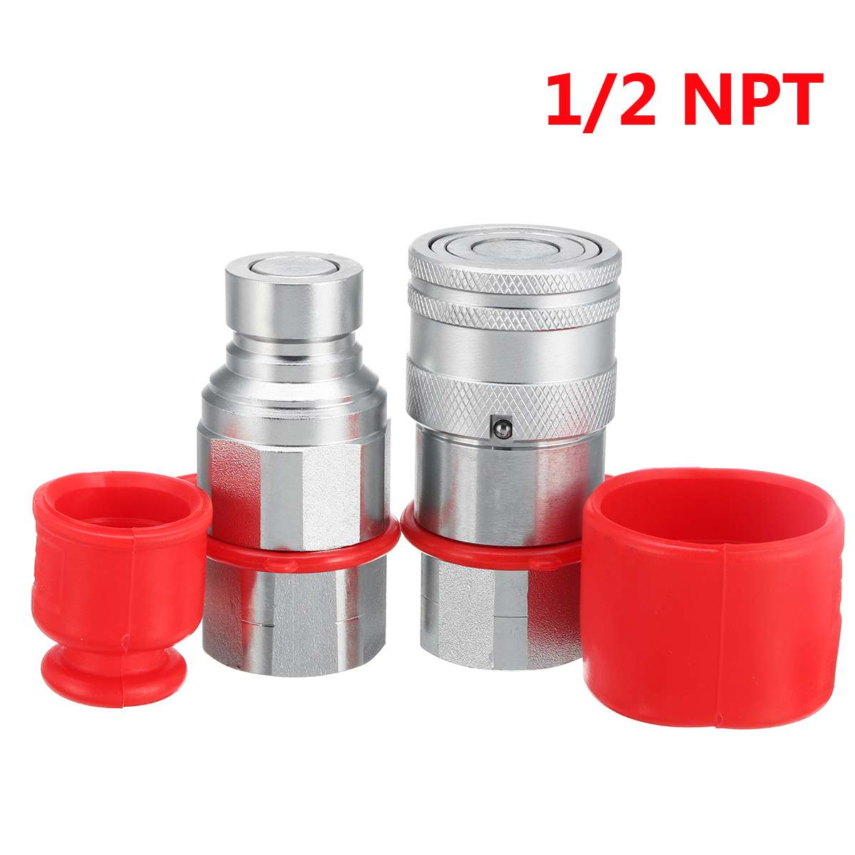 1/2 NPT Flat Face Coupler Adapter Male Female Skid Steer Hydraulic Quick Connect Coupler Cover Coupling Set for ISO16028 Series 30 set 60pcs 30male 30female 1 4 iso 7421 bseries hydraulic quick couplings coupler steel
