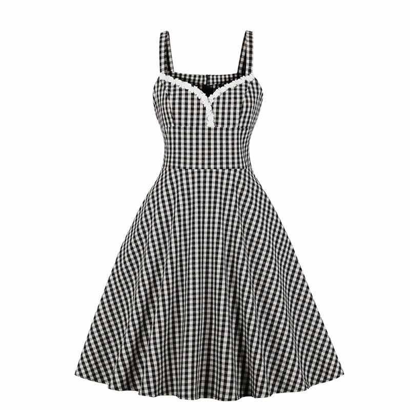 Sisjuly, летнее клетчатое платье, женское, сексуальное, с открытой спиной, шикарное, винтажное, ТРАПЕЦИЕВИДНОЕ, милое, элегантное, вечернее, готическое, повседневное, ретро платье на бретелях