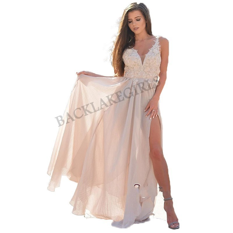 Vestido festa New Elegant Chiffon   Prom     Dress   Long V-neck Sexy High Lit   Dress   Women Party Wear