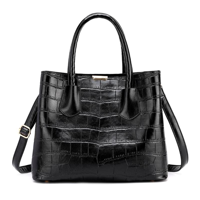 Women Tote Handbags Luxurious PU Leather Bucket Soft Shoulder Bags Plaid Decor High-Capacity Female Shopping Party