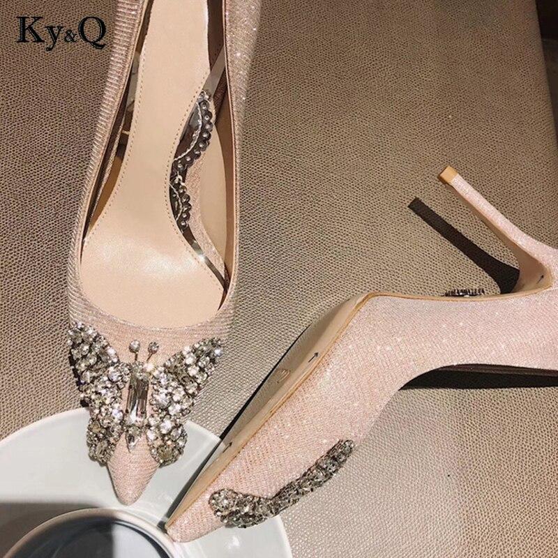Parti Chaussures Lady Diamant Pink Pompes Sequin Bout Pointu silver 2018 Talons Élégant Sexy Hauts Décoration De Mariage À Papillon Hiver Femme wazxxqAIv
