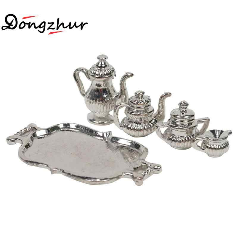 Dongzhur Doll House Accessories Classic Silver Metal Teapot Set Dollhouse Miniatures 1:12 Accessories DIY Dollhouse Party