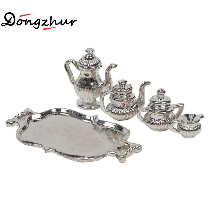 Dongzhur Doll House Accessories Classic Silver Metal Teapot Set Dollhouse Miniatures 1:12 Accessories DIY Dollhouse Tea Party