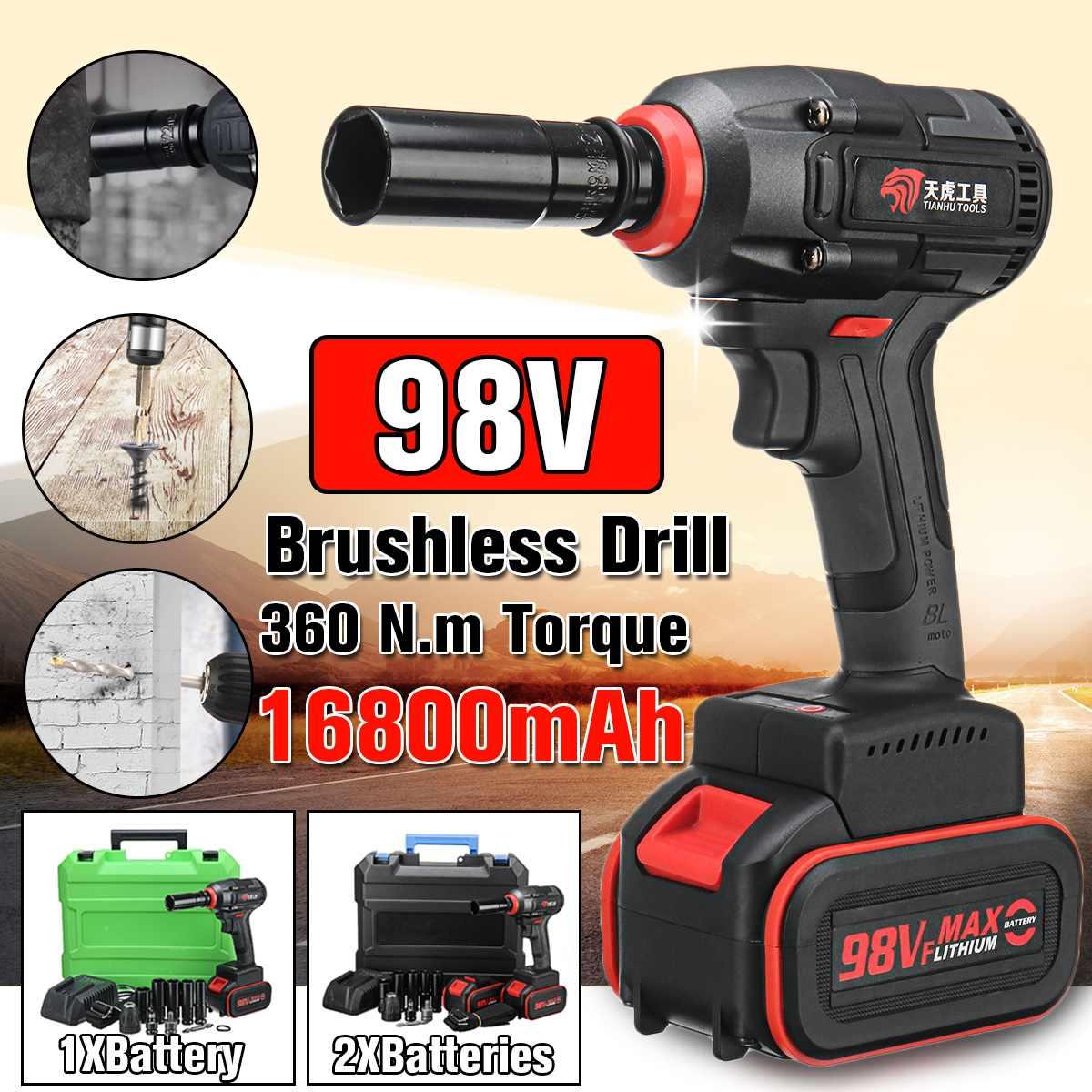 Ferramentas elétricas sem escova da instalação da broca da mão da bateria da chave de soquete do impacto 98 v 16800 mah li