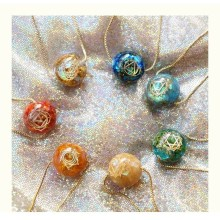 Natural Seven Chakras Orgonite Energy Pendant Necklace Energy Ball Bring Lucky Necklace Absorbs Negative Energy Gife