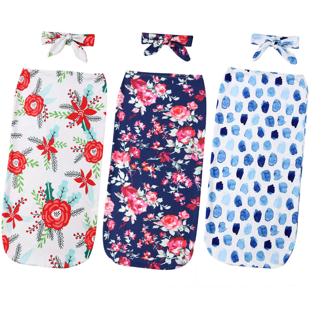 2019 Spring New Newborn Soft Muslin Floral Baby Swaddle Nursery Sleeping Bag Blanket Headband