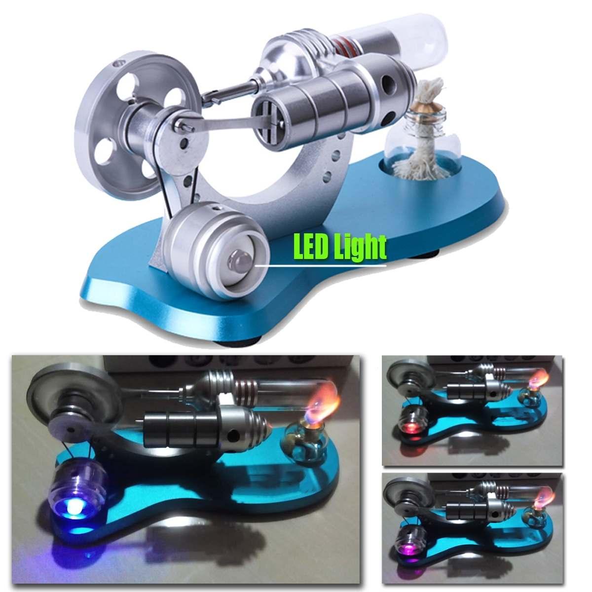 Mini Air Chaud Moteur Stirling Moteur Modèle Éducatifs la Machine À Vapeur kit de jouet Avec lumière led pour Enfants Adulte