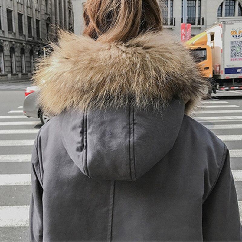 2018 Veste Taille Lâche La Long Hiver Gray De À Coton Ls40 Capuchon Mode caramel Fourrure Plus Nouveau Épaissir Femmes Manteau Col Ouatée Parkas Chaud rTqtwXr