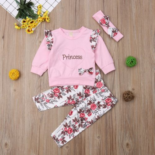Newborn Baby Girls Clothing Long Sleeves Tops Floral Pants Headbands 3pcs Cotton Outfits Set Clothes Baby 0-2Y