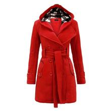 Women Casual Hooded Neck Long Sleeve Solid Double-Breasted Winter Medium Fleece Coat Button, Belt, Pocket