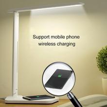 Lámpara de mesa con atenuación LED lámpara de escritorio con cargador inalámbrico QI puerto de salida USB luz ajustable luz moderna Flexible para mesa de oficina