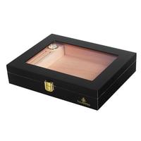 UXFO Cedar Wood Travel Cigar Humidor with Hygrometer Humidifier for Cohiba Cigars 10CT