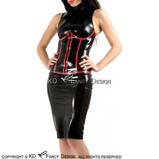 Black With Red Sexy Latex Dress With Fake Corsets Decoration And Front Zipper Rubber Dress LYQ