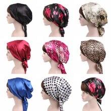 Women Flower Muslim  Chemo Hat Head Scarf Shiny silk Turban Cap Pre-Tied Flowers Printed Shawl Soft Silk Chiffon Long Tail