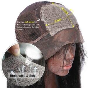 Image 5 - LUFFYHAIR brezilyalı kıvırcık ipek taban dantel peruk bebek saç tutkalsız Remy saç ipek üst dantel ön peruk siyah için kadın