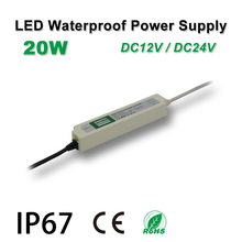 цены 20W Waterproof Power Supply,LED Strip Drive,IP67,DC12/24V,Adapter transformer,Indoor & Outdoor Use,for panel lights,Linear light