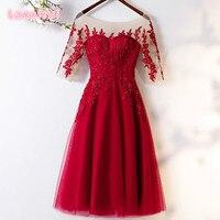 2019 Hot Sell Elegant Burgundy Women Party Dresses A Line Half Sleeve Lace Tulle Knee Length Formal Dress Vestidos